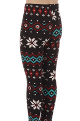 Brushed Sleigh Bell Snowflake Kids Leggings