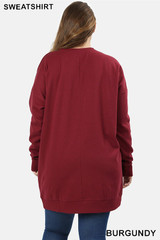 Premium Oversized Round-Neck Plus Size Sweatshirt with Pockets
