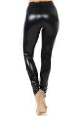 Shiny Black Faux Leather Leggings
