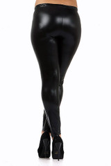 Shiny Black Faux Leather Plus Size Leggings