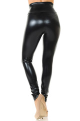Shiny Black High Waisted Faux Leather Leggings