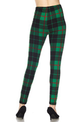 Brushed Festive Green Plaid Holiday Plus Size Leggings - 3X-5X