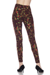 Brushed Christmas Holly Plus Size Leggings - 3X-5X