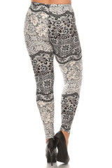 Back side image of Brushed Exquisite Leaf Plus Size Leggings - 3X - 5X