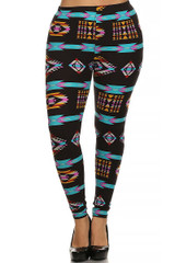 Front image of Brushed Sacred Tribal Plus Size Leggings