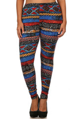 Brushed Tulum Tribal Plus Size Leggings - 3X - 5X