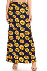 Brushed Summer Daisy Maxi Skirt