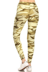 Brushed Light Olive Camouflage High Waisted Leggings