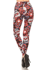 Brushed Crimson Sugar Skull Leggings