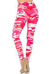 Brushed Pink Camouflage Plus Size Leggings - 3X-5X