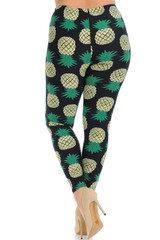 Brushed Green Pineapple Plus Size Leggings - 3X-5X