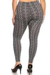 Brushed Vertical Paisley Brocade Plus Size Leggings
