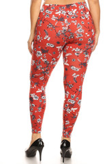 Brushed Ruby Red Spring Floral Plus Size Leggings