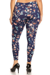 Brushed Spring Asian Floral Plus Size Leggings