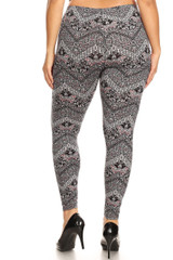 Brushed Ornate Chevron Plus Size Leggings