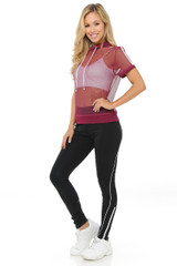 Premium Select Full Mesh Jacket with Slenderize Workout Leggings Set - Red