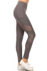 Side Mesh Panel Sport Leggings