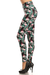 Brushed Palm Frond Flamingo Plus Size Leggings - 3X-5X