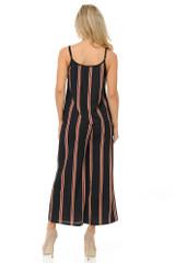 Burgundy Stripes Summer Palazzo Capri and Spaghetti Tank Top Set