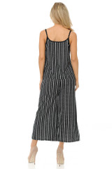 Textured Stripes Summer Palazzo Capri and Spaghetti Tank Top Set