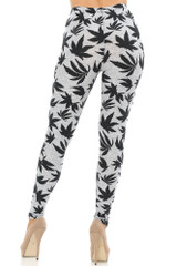 Soft Brushed Solid Heather Grey Marijuana Plus Size Leggings