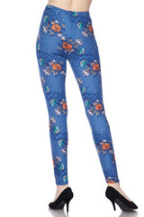 Soft Brushed Denim Blue Floral Rose Leggings