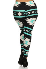 Soft Brushed Mint on Black Azteca Tribal Plus Size Leggings