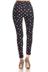 Soft Brushed Colorful Polka Dot Plus Size Leggings - 3X-5X