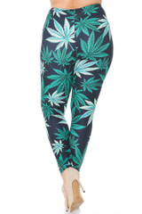 Creamy Soft Black Weed Plus Size Leggings - USA Fashion™
