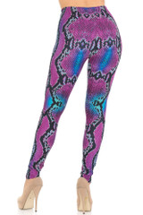 Creamy Soft Pink and Blue Snakeskin Extra Small Leggings - USA Fashion™