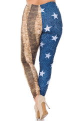Creamy Soft Vintage USA Flag Extra Plus Size Leggings - 3X-5X - USA Fashion™