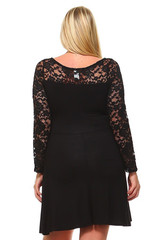 Sweetheart A-Line Lace Bodice and Sleeves Plus Size Dress