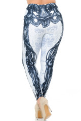 Creamy Soft White Bio Mechanical Skeleton Extra Plus Size Leggings (Steam Punk) - 3X-5X - USA Fashion™