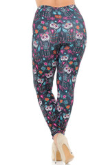 Creamy Soft Sugar Skull Kitty Cats Extra Plus Size Leggings - 3X-5X - USA Fashion™