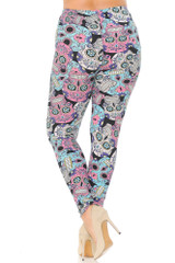 Brushed Pastel Sugar Skull Extra Plus Size Leggings - 3X-5X