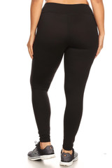Solid Black High Waisted Plus Size Workout Leggings