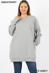 Oversized Round-Neck Plus Size Fleece Lined Sweatshirt with Pockets