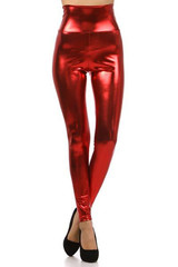 Red Shiny Metallic High Waisted Leggings