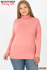 Brushed Microfiber Mock Neck Plus Size Top