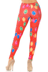 Ruby Red Colorful Christmas Lights Leggings