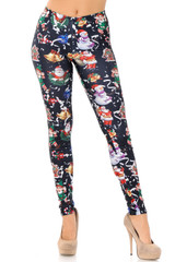 Wonderful Festive Christmas Leggings - Black