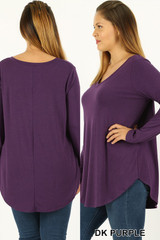 Premium V-Neck Round Hem Long Sleeve Plus Size Top