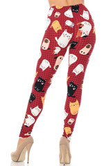 Brushed Cartoon Kitty Cats Leggings