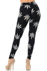Brushed Black Marijuana Extra Plus Size Leggings - 3X-5X