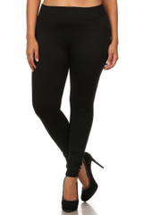 Front image of Women's Fleece Lined Plus Size Leggings - Black Charcoal - 2 Pack