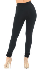 Women's Fleece Lined Black Cuff Leggings