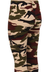 Brushed  Cozy Camouflage Kids Leggings - EEVEE