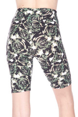 Brushed  Olive Rose Plus Size Shorts - 3 Inch