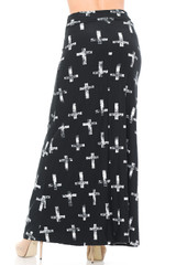 Brushed  Faded Cross Maxi Skirt