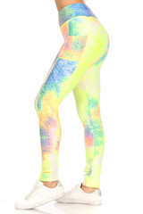 Premium Sport Multicolored Tie Dye Scrunch Butt Workout Leggings with Side Pockets